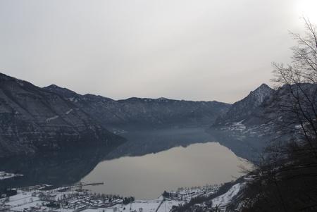 Italy, Brescia - Lake Idro snowy