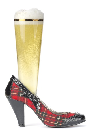 Glass of beer in a shoe Scottish