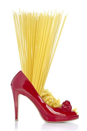 Pasta - spaghetti and penne in red shoe with heel