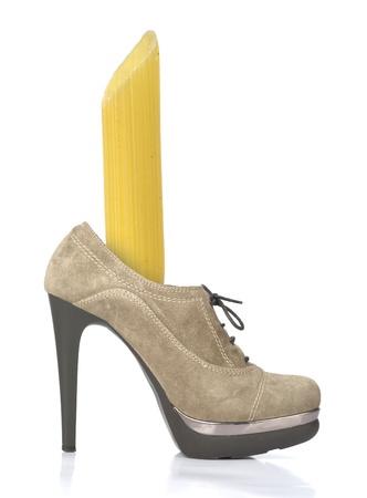 Pasta - big penna in the raw beige high-heeled shoe