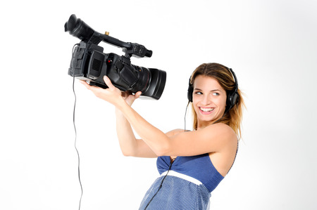 Girl with headphones and camera Stock Photo