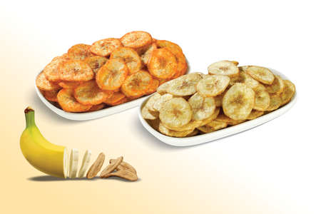Fried chips wafers, Healthy Kela or Banana chip or wafer, dried Dehydrated, Kerala cuisine fried in oil, Banana slices turning into chips isolated, potato, masala or spicy or salted