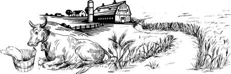 Vector Drawing of Farmer and Farming with bullock, and tractor working in field, Tuscany Landscape, rural field with ripe wheat on background of mill and village, clouds, old Barn, house, trees, plant Ilustracje wektorowe