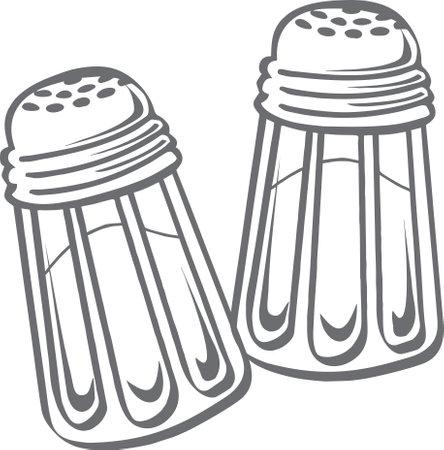 salt shaker line drawing vector, Salt and pepper shakers, illustration.