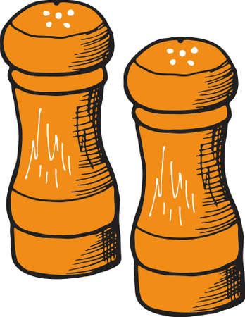 salt shaker line drawing vector, Salt and pepper shakers linear icon. Cooking spices. Thin line illustration. Contour symbols. Vector isolated outline drawing Illusztráció