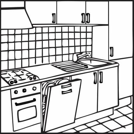 kitchen drawing, Interior sketch of kitchen room. Outline blueprint design of kitchen with modern furniture