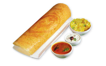 South Indian Masala Dhosa or dosa served with sambhar, coconut chutney, red chutney and green chutney, South Indian Breakfast