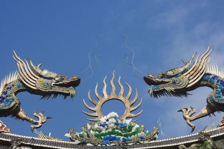 Chinese dragons on a temple roof.  Dragons have a special place in Chinese mythology.  Traditional they were thought to control to the weather and water related things. photo