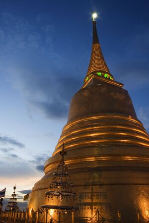 This is the Golden Mount, Bangkok.  This temple is built on a small hill that gives great views of Bangkok, especially the old city. Stock Photo