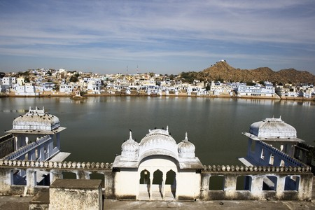 Pushkar is pilgrim site in India.  It attracts pilgrims, babas, snake charmers and many backpackers.  Its a considered a very scared place by Indians. Stock Photo