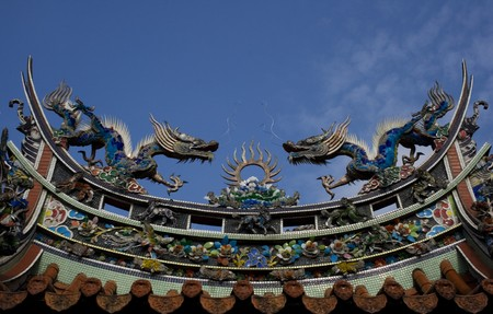 Chinese dragons on a temple roof.  Dragons have a special place in Chinese mythology.  Traditional they were thought to control to the weather and water related things. Stock Photo - 4080432