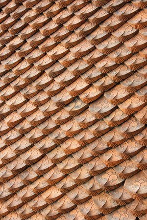 Temple roof tiles.  This was taken at the Temple of Literature in Hanoi.  This temple is dedicated to Confucius, a Chinese philosopher who put much emphasis on learning. Stock Photo - 4075994