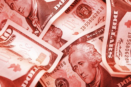 Red dollars, symbolizing debt.  It could be through a loan, a mortgage, or just simply owing money to people or banks.  Debt is usually bad, especially at the individual level but also for companies.  In the current economic climate, everyone is facing a