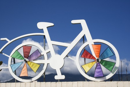 A model of a bike on a bike route.  Cycle friendly paths are big and gaining popularity through the world.  Stock Photo
