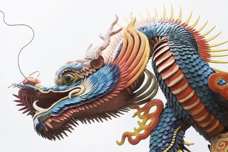 A close up of a temple dragon.  This is in the Chinese style and has much symbolism to the Chinese. photo