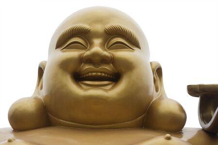 Der Kopf und Gesicht der lachende Buddha. Er ist ein Buddha, die gemeinhin im chinesischen Raum. Standard-Bild