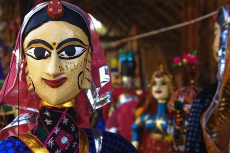 puppet show: Puppets in a market in Rajasthan