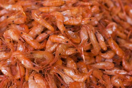 These are fried shrimps. They are on display at a restaurant.