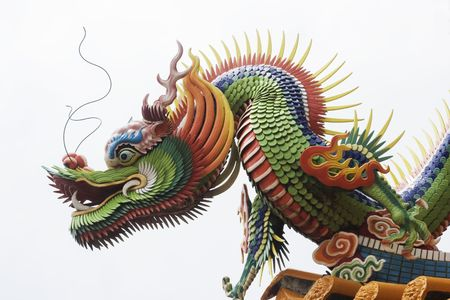 A close up of a temple dragon.  This is in the Chinese style and has much symbolism to the Chinese.