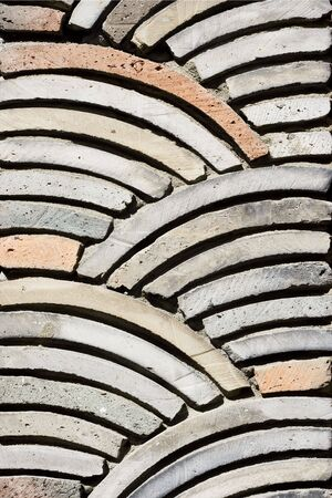 stoneworks: Stone work in a Korean Restaurant. The stone work forms a pleasing pattern.  Stock Photo