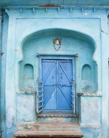 A Blue Doorway at a traditional house in India.