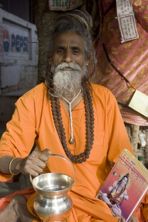 Pushkar, India, January, 22, 2008; This is a babaSadhu with his worldy processions