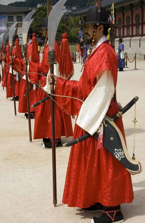 Seoul, Korea, October, 5, 2009;  These are the guards at the Gyeongbokgung, the former royal palace of Korea
