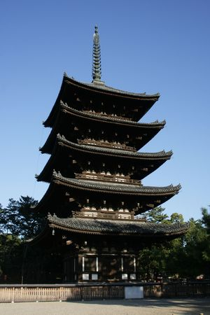 This is a five story pagoda in Nara, Japan.  Its the second tallest pagoda in Japan.