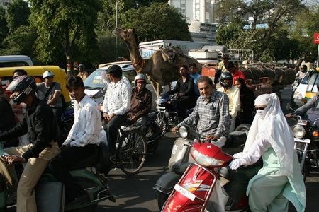 3rd Dec 2007, Ahmedabad, India, Busy traffic, including animals, bicycles, cars. Editorial