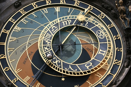 prague: Clock face of the astronomical clock in Prague.  Skeleton could be seen as showing time as limited.  Stock Photo