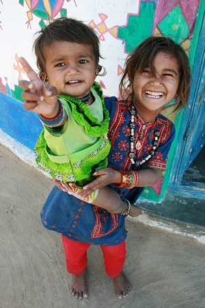 Rann of Kutch, Gujarat, India, Dec, 26, 2007; Two young tribal girls laughing