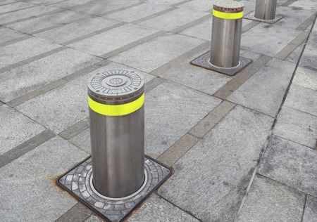 automatic rising bollards in pedestrian area