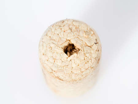 holed: wine cork with a hole in the middle Stock Photo