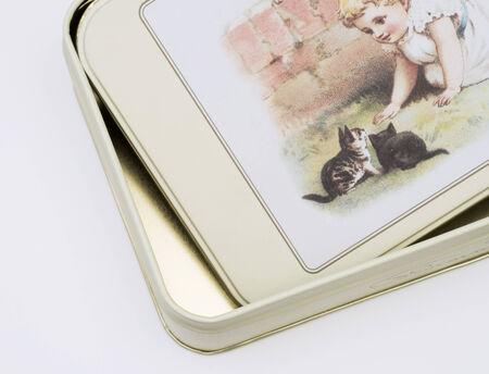 antiquated: vintage tin box Stock Photo