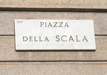 scala: Piazza della Scala street sign, Milan, Italy Stock Photo