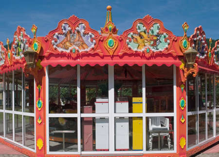 go inside: Fun fair with merry go round inside a closed booth