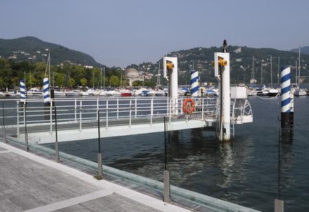ing: landing stage at pier, Como, Como lake, Italy