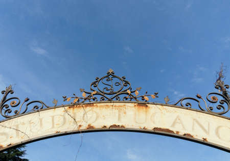 old sign: Old rusty sign gate
