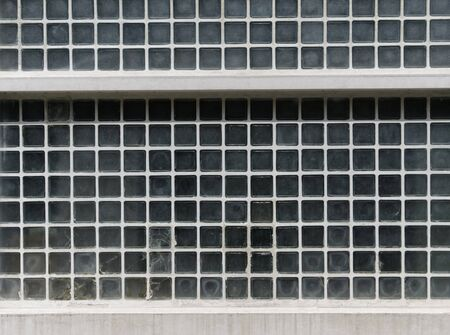 glass brick: glass brick wall on the exterior side of a building