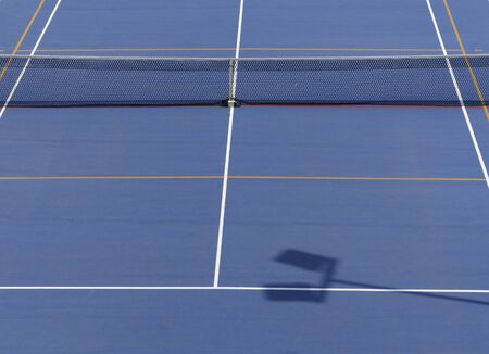 blue surface tennis court Stock Photo