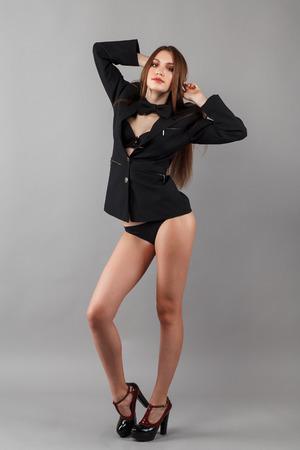 long legged: beautiful young woman