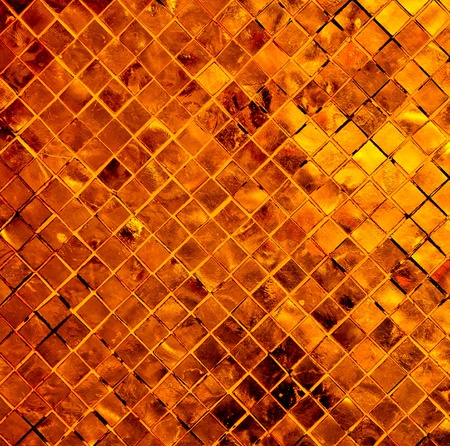 Copper-red abstract background from tile mosaic photo