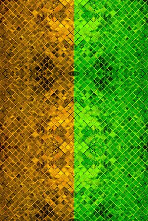 gold-green abstract background from tile mosaic  photo