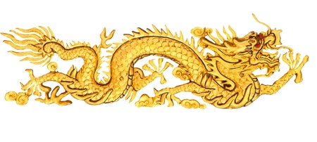 Golden Dragon sculpture with isolate white background  Stock Photo