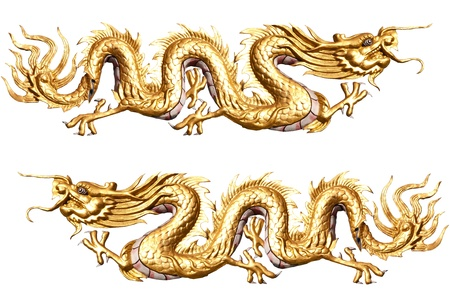 Golden Dragon sculpture with isolate white background Stock Photo - 13320446