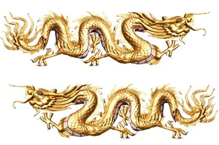 dragones: Oro escultura del drag�n con el aislamiento de fondo blanco