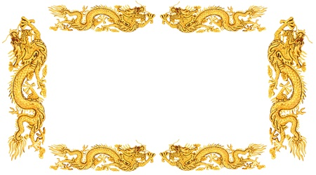 ggolden dragon on white background, dragon frame  Stock Photo - 13320434