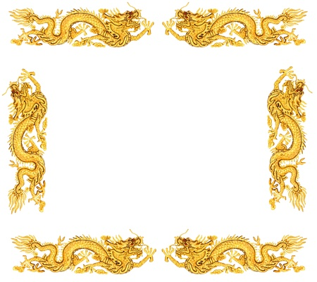 ggolden dragon on white background, dragon frame