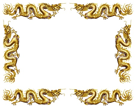 Golden Dragon On White Background, Dragon Frame Stock Photo, Picture ...