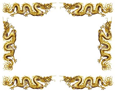 golden dragon on white background, dragon frame